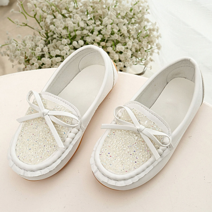 Girls Female Footwear With Rhinestones Bow Spring Summer Autumn Breathable Casual Kids Peas Shoe white 21