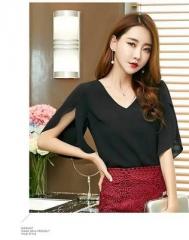 Summer casual solid women Chiffon Shirt Female butterfly Sleeve Korean loose size women blouse top black s