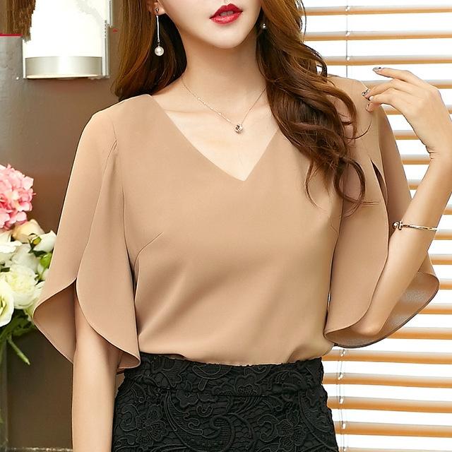 a853d17d0949 Summer casual solid women Chiffon Shirt Female butterfly Sleeve Korean  loose size women blouse top khaki xl  Product No  1193989. Item specifics   Seller ...