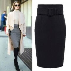 new fashion  cotton plus size high waist saias femininas casual midi pencil skirt women skirts black m