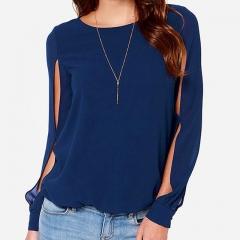 Hot Women Blouse Long Sleeve Sexy Casual Shirt Fashion Chiffon Blouse Women Girls Tops Blusas Tops dark blue s