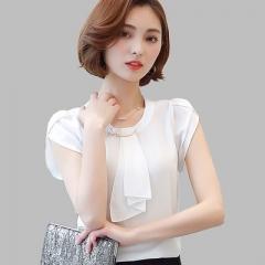 Summer Solid Chiffon Blouse Shirt Short Sleeve Shirt Women Ladies Office Blouses Fashion Blusas white s