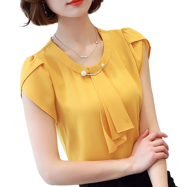 Summer Solid Chiffon Blouse Shirt Short Sleeve Shirt Women Ladies Office Blouses Fashion Blusas yellow m