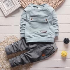 Fashion letter baby Boy Kid Autumn Winter Suit Fall Cotton sport tracksuit outdoor Children Clothing sky blue 80cm
