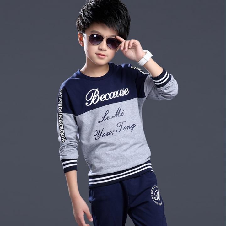 Autumn boys clothing sets sport suit casual kids clothing 4-14 year 2 pcs children tracksuit clothes gey 150cm