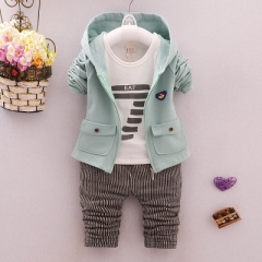 Kids Hoodied Coat Jacket+T Shirt+Pants 3 Pcs Children Cotton Sport Suits Baby Boys Clothes Set green 70cm