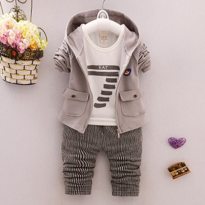 Kids Hoodied Coat Jacket+T Shirt+Pants 3 Pcs Children Cotton Sport Suits Baby Boys Clothes Set brown 100cm