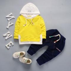 Hot Childrens Spring Cotton Boys outerwear Long Sleeve T Shirt hat +pants 2pc/set kids Clothes yellow 80cm