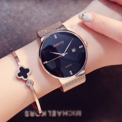 Women Watches Elegant Minimalism Rhinestone Casual Black Female Waterproof Clock gold black one size