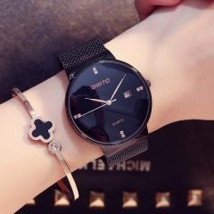Women Watches Elegant Minimalism Rhinestone Casual Black Female Waterproof Clock black one size