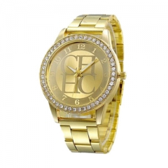 Watches Women Casual Dress Quartz Gold Watch Fashion Stainless Steel Crystal Ladies Wristwatches gold one size