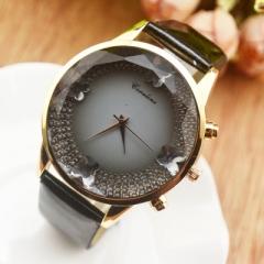 Luxury Brand Quartz Lady Horloge Strass Waterdichte vrouwen Horloge Lederen Upscale Grote Dial Luxe black