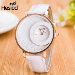Leather Strap Women Rhinestone Wrist Watches Casual Dress Watches Crystal Solid  Relogio Feminino white