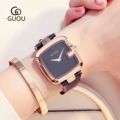 Ladies Watches For Women Watch Women Top Brand Luxury  Leather Square Clock relogio feminino saat black
