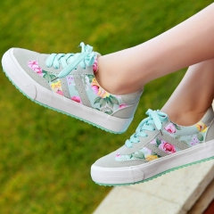 Women casual shoes printed casual shoes women canvas shoes new arrival fashion sneakers green 35