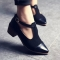 Vintage Oxford Shoes Women Pointed Toe Cut Out Med Heel Patchwork Buckle Ladies Shoes Flats black 37