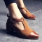 Vintage Oxford Shoes Women Pointed Toe Cut Out Med Heel Patchwork Buckle Ladies Shoes Flats brown 35