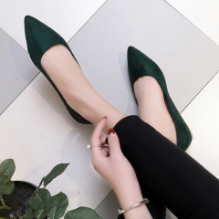 Women Suede Flats High Quality Basic Mixed Colors Pointy Toe Ballerina Ballet Flat Slip On Shoes green 35