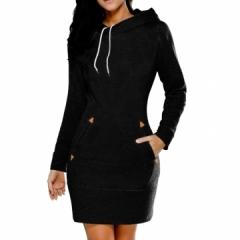 Hot Sweatshirt Long Sleeve Zip Hooded Sweatshirts Feminino Moleton Women Pullovers Hoodie black s