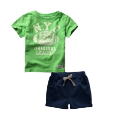 Boys Clothes Sets Summer Football Print Boy Sports Suit T-shirts and Shorts set Children Clothing green 90cm