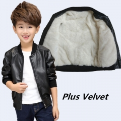 Children Boys Winter Coat Thick Velvet Kids PU Leather Jacket Solid Children's Warm Clothes Outwears black 130cm