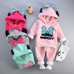 Winter Clothes Baby Girl Clothing Sets Cartoon Lovely Pattern Bow-tie Hooded 2 Pieces Sports Suit grey 18m