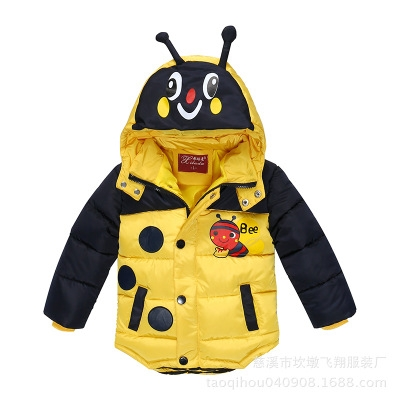 Baby Boys Jacket  Winter Jacket For Boys Bees Hooded Down Jacket  Warm Outerwear Infant Boys Coat yellow m