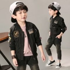 Toddler Boys Jacket Autumn Spring Army Style Kids Bomber Jacket For Boys Outerwear Tops Clothings black 100cm