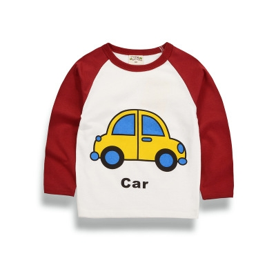 Children Clothing Autumn T-shirt For Boys T-shirt Baby Clothes For Boys Long Sleeved Cotton Shirt red 90cm