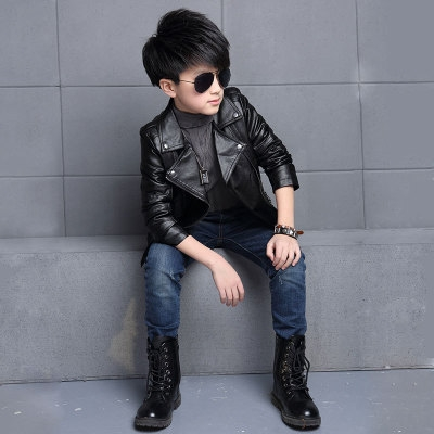 Teenager Boys Leather Jacket Boys Casual Children Outerwear Kids Girls Coats Spring Leather Jackets black 110cm