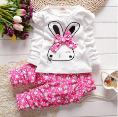 Fashion Baby Girl Clothing Set Children Cute Suit 2PCS Kids Twinset Top T Shirt +Plaid Pants rose red 90cm