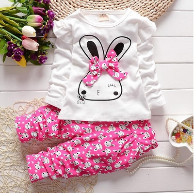 Fashion Baby Girl Clothing Set Children Cute Suit 2PCS Kids Twinset Top T Shirt +Plaid Pants rose red 90cm