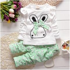Fashion Baby Girl Clothing Set Children Cute Suit 2PCS Kids Twinset Top T Shirt +Plaid Pants green 120cm