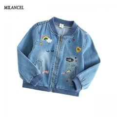 Girl's Denim Jacket  for Girls 2-7T Children's Clothing Autumn Outerwear windbreakers for girls blue 90cm