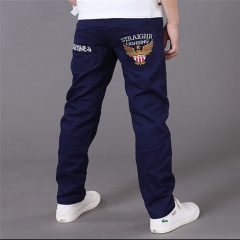 Autumn Letter Kid Boys Pants Trousers Clothes Casual Cotton Elastic Waist Pencil Pants For The Boys dark blue 130cm
