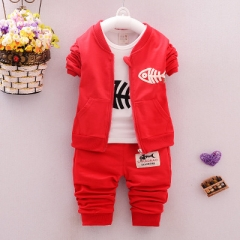 Baby Children Clothing Sets Boys Cotton Coat + shirt + trousers  Suits Autumn Children Tracksuits red 12m