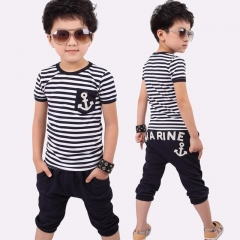 Summer Boys Suits Striped T-shirts Shorts Casual Cotton Children Clothing Set Kids Clothes for Boy black 90cm