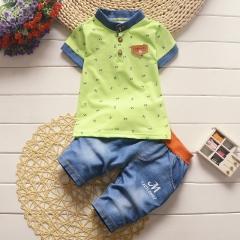 Children Boys Clothing Sets Top + shorts Summer Set Toddler Kids Tracksuit Clothes Sport suit Set green 4t