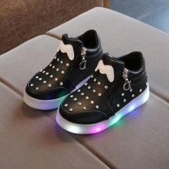 European Cartoon Glitter Footwear Zip LED Lighted Children Shoes Unisex Baby Girls Boys Sneakers black 22