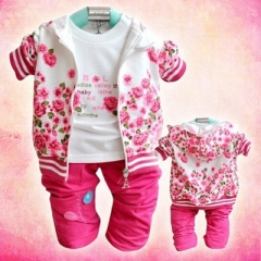 Spring Tracksuit Girls Suits Kids Clothes Zipper Sweatshirt Pant Suits Children Floral Clothing Sets rose red 80cm