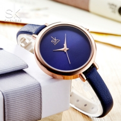 2018 Elegant Slim Quartz Watch Top Brand Leather Women Watches Ladies Business Wristwatch dark blue