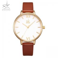 Women Fashion Watch Elegant Dress Leather Strap Ultra Slim Wrist Watch Montre Femme Reloj Mujer brown