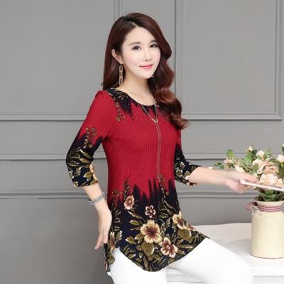 Women blouses shirt Fashion Casual loose printed chiffon blouses 2018 Summer plus size women tops red 2xl