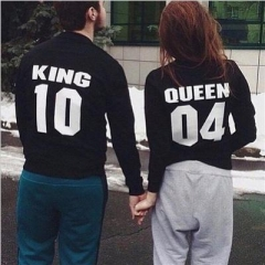 Lovers Couple Letter Print Couples T-Shirt casual Cotton Tops Couple Sweater O-neck lovers Clothing black girl  s