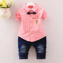 Spring boys kids clothes sets long sleeve shirt+ jeans casual clothing sets children baby clothes pink s