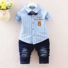 Spring boys kids clothes sets long sleeve shirt+ jeans casual clothing sets children baby clothes sky blue l