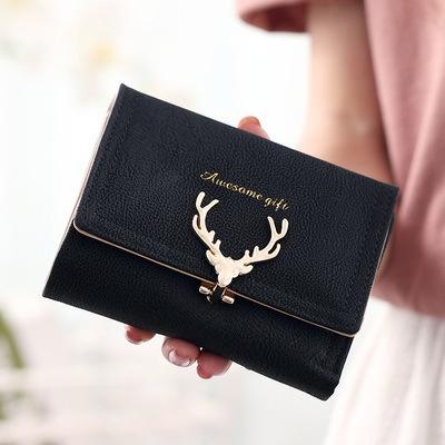 Women Leather Wallet VintageTri-Folds Luxury Cash Purse Girl Small Black Clutch coin purses holders black one size