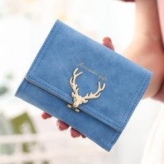 Women Leather Wallet VintageTri-Folds Luxury Cash Purse Girl Small Black Clutch coin purses holders sky blue one size