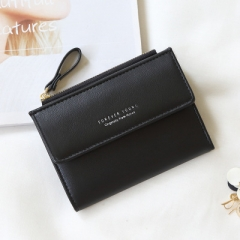Wallet Fashion Lady Portable Multifunction Short Solid Color Change Purse Hot Female Clutch Carteras black one size