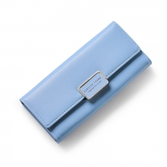 Women Long Leather Wallet Portable Multifunction Solid Color Purse Female Change Purse Lady Clutch blue one size